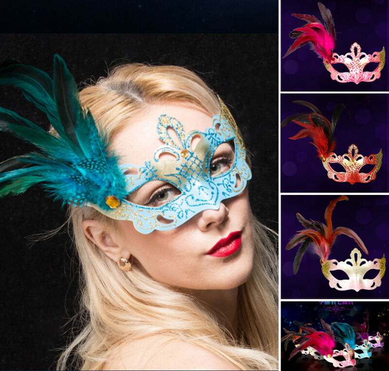 Masquerade Venetian Mask Eyemask For Women Halloween Party Mardi Gras Prom Women Feather Mask