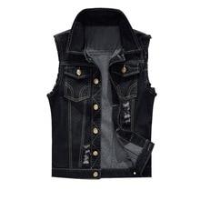 WENYUJH 2019 Autumn New Cotton Jeans Vest Men Plus Size 6XL Black Denim Jeans Vest Male Cowboy Outwear Waistcoat Mens Jackets цена
