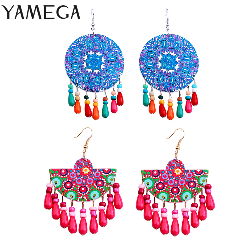 Trendy Beaded Charms Earrings Vintage Gypsy Boho Fashion Jewelry Unique Statement Wooden Drop Earrings For Women Gifts 2020 New