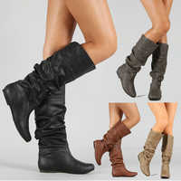 Women Leather Mid Calf Boots Casual Slip on Autumn Winter Wedge Long Boots Fashion Pleated Round Toe Black High Boots Female