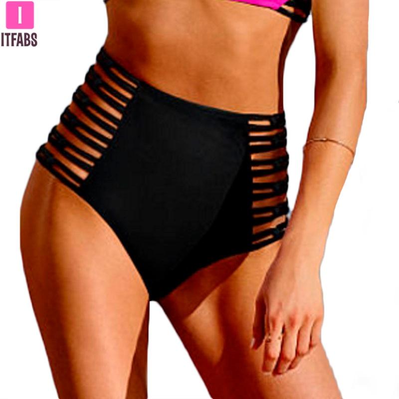 High Waist Women Beachwear Panty 2020 Summer Sexy Hollow Out Bandage Bikini Bottom Swimsuits Swimwear Clothings Biquinis