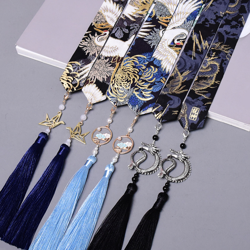 Vintage Women Tassel Knot Ribbon Scrunchies Print Fabric Hair Ties Hair Satin Hairbands Hair Accessories Chinese Style Jewelry