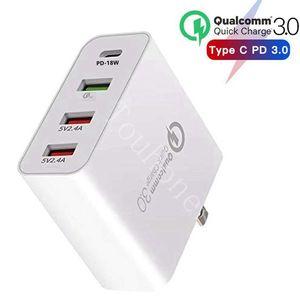 "Image 1 - 48W רב מהיר מטען פ""ד סוג C USB מטען עבור סמסונג iPhone Huawei Tablet QC 3.0 מהיר קיר מטען ארה""ב האיחוד האירופי בבריטניה AU Plug מתאם"