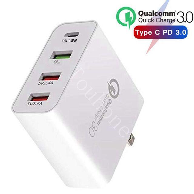 "48W רב מהיר מטען פ""ד סוג C USB מטען עבור סמסונג iPhone Huawei Tablet QC 3.0 מהיר קיר מטען ארה""ב האיחוד האירופי בבריטניה AU Plug מתאם"