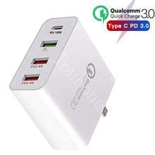 48W متعددة شاحن سريع PD نوع C USB شاحن سامسونج فون هواوي اللوحي QC 3.0 سريع الجدار شاحن الولايات المتحدة الاتحاد الأوروبي المملكة المتحدة الاتحاد الافريقي محول القابس