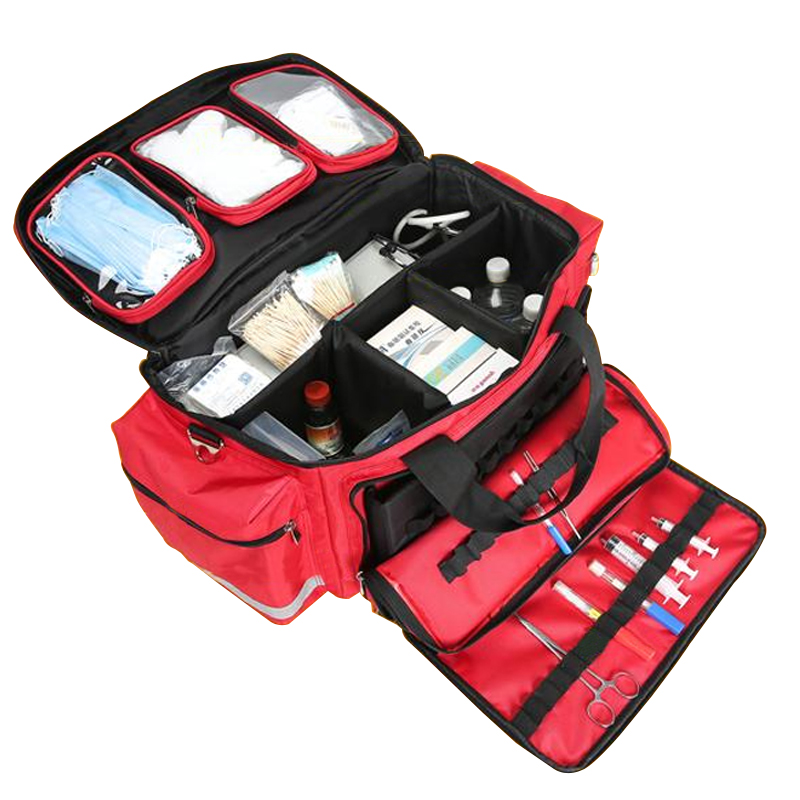 Outdoor First Aid Medical Bag Isolation Multi-pocket Large Storage Portable Cross Emergency Medical Bag Sports Travel Nylon Bag