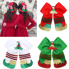 7 Large Christmas Hair Bows for Kids Handmade Ribbon Glitter Hat Cheer Ponytail Holder Band Girls Accessories