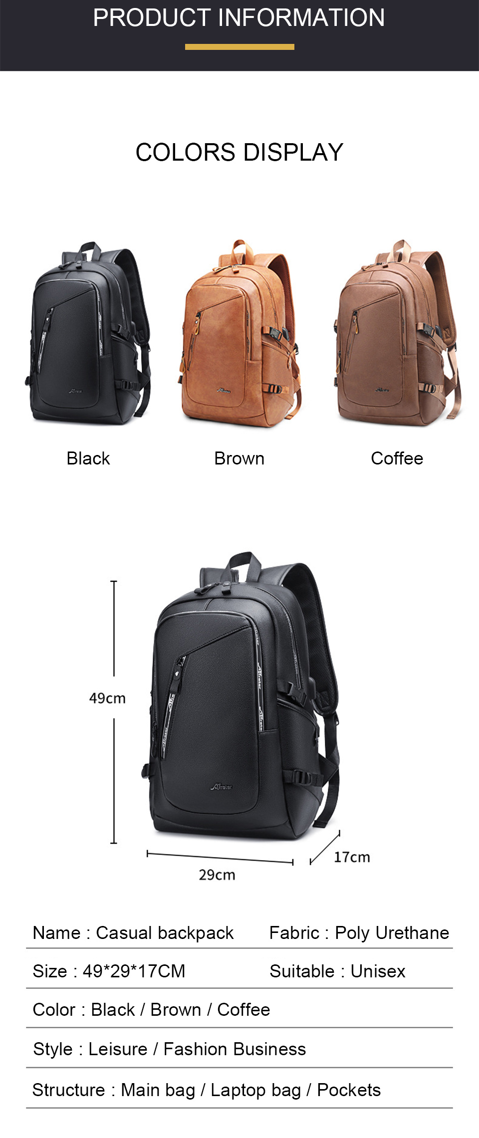 Fashion Smart Backpack Men Male Laptop 15.6 Student Backpacks School PU Leather Bagpack Waterproof Notebook USB Charging Bags (2)