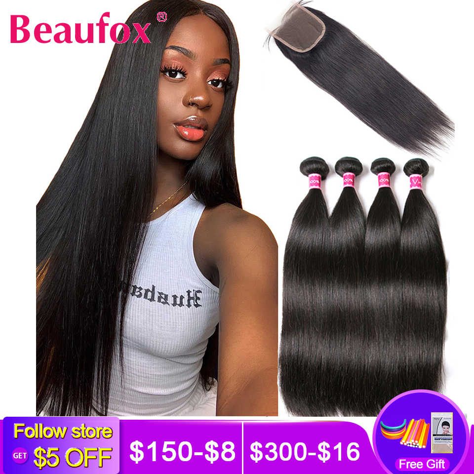 Beaufox Human Hair Bundles With Closure Brazilian Straight Hair Bundles With Closure Remy Hair 3 Bundles With Closure