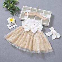 Robe de princesse en Tulle pour bébés filles, sans manches, avec nœud papillon, bretelles, été