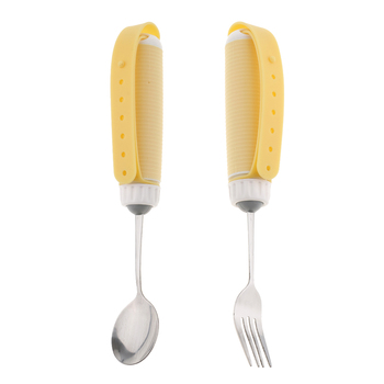 2 sztuk zapalenie stawów osoby w podeszłym wieku Parkinson dorosłych dzieci naczynie jedzenie łyżka do posiłków zestaw widelec-stal i silikon-nie ważone nie poślizgowe tanie i dobre opinie perfk Eating Aids for Elderly
