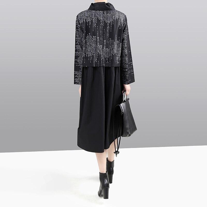 Image 5 - New Korean Style 2019 Women Winter Black Dress Long Sleeve  Mandarin Collar Striped Patchwork Lady Midi Retro Dress vestido  5667Dresses