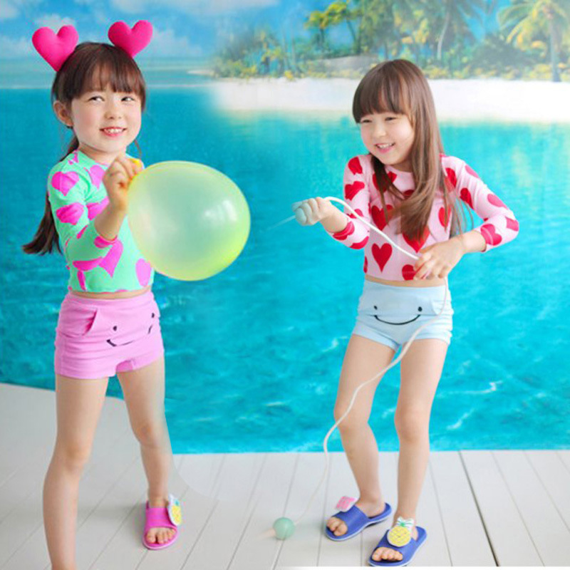 Haiyishan CHILDREN'S Swimwear Split Boxer GIRL'S Girls Long Sleeve Sun-resistant Hot Springs Warm Cute Princess Students