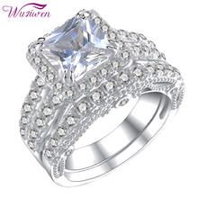 Wuziwen 2 Pcs 925 Sterling Silver Wedding Rings For Women Princess Cut AAA Zircon Engagement Ring Bridal Set Classic Jewelry
