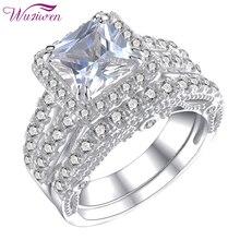 Wuziwen 2 adet 925 ayar gümüş alyanslar kadınlar için prenses kesim AAA zirkon nişan yüzüğü gelin seti klasik takı
