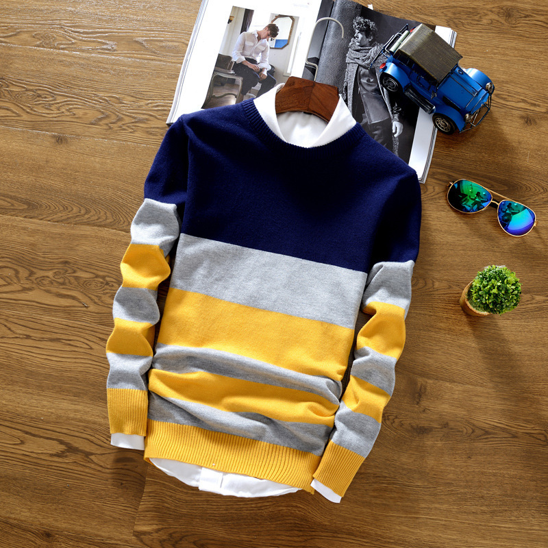 Knitted Sweater Crocheted Men Pullover Stripe Casual Cotton Fashion-Brand Splice Thin
