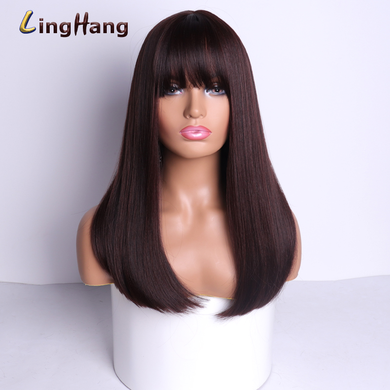 Ling Hang High Quality Natural Long Hair Wig Ladies Brown Black Grey Wine Red 4 Colors Wigs