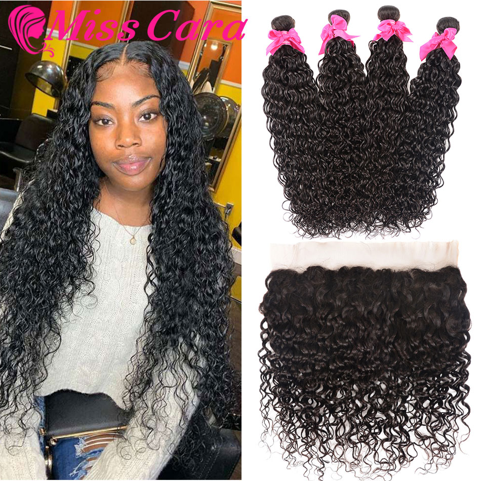 Malaysian Water Wave Bundles With Frontal Miss Cara 100% Remy Human Hair 3/4 Bundles With Closure 13*4 Lace Frontal With Bundles