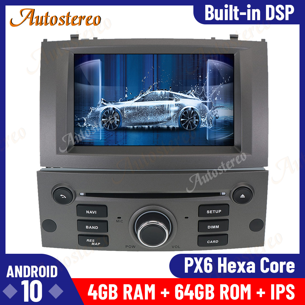 Android 10.0 4GB+64GB Car GPS Navigation for Peugeot 407 2004-2010 Multimedia Player Auto Stereo Head Unit Radio Tape Recorder image