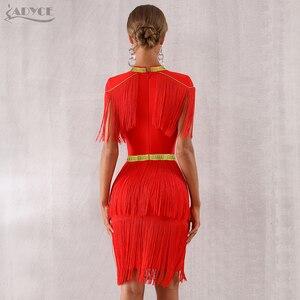 Image 5 - Adyce 2020 뉴 여름 레드 프린지 연예인 저녁 활주로 파티 드레스 여성 섹시한 Tassels 블랙 짧은 소매 클럽 드레스 Vestidos
