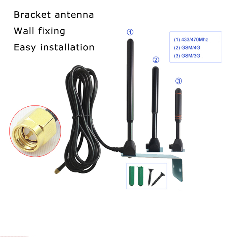 433 / GSM / 4G Bracket Antenna 3m Cable Wall Fixing Easy Installation CDMA / GPRS / 3G High Gain Antenna Omnidirectional