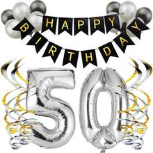 Birthday Party Decorations Adult Black&Silver Happy Birthday Bunting Balloon And Spiral Ribbon 50th Birthday Party Supplies 75D(China)