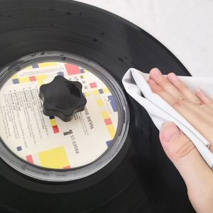 Image 4 - LP Vinyl Record Cleaner Clamp Record Label Saver Acrylic Clean Tools Cloth
