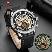 NAVIFORCE montre de luxe en cuir pour hommes, entièrement en acier, montre bracelet de Sport, style militaire, 2019