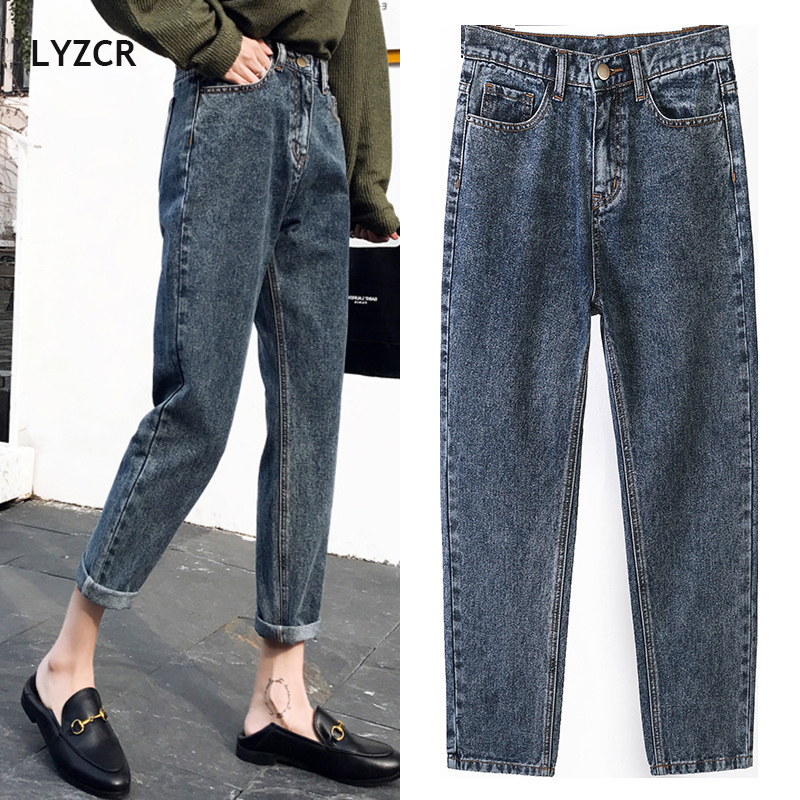 LYZCR Vintage Boyfriends Harem Jeans Women Spring 2020 Loose High Waist Jeans Woman Denim Pencil Trousers Mom Jeans Mujer Cotton