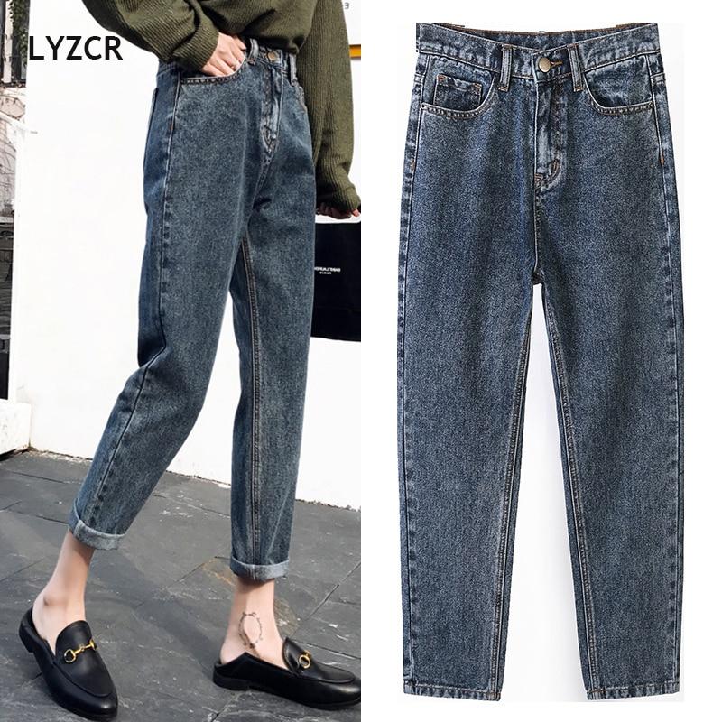 LYZCR Vintage Boyfriends Harem Jeans Women Spring 2020 Loose High Waist Jeans Woman Denim Pencil Trousers Mom Jeans Mujer Cotton