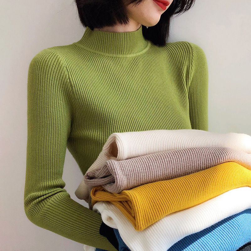 Winter Knitting Sweater Pullovers Women Long Sleeve Tops Turtleneck Knitted Sweater Chic Woman Clothes Female Casual Streetwear 2