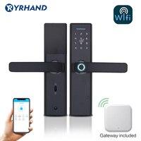 Fechadura eletrônica da porta do aplicativo de wifi  fechaduras biométricas inteligentes da porta de impressão digital  fechadura keyless inteligente da porta de wifi com gateway