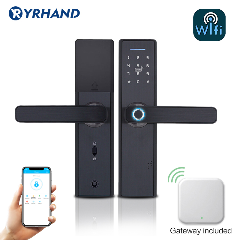 WIFI App Electronic Door Lock, Intelligent Biometric Door Locks Fingerprint, Smart Wifi Digital Keyless Door Lock With Gateway
