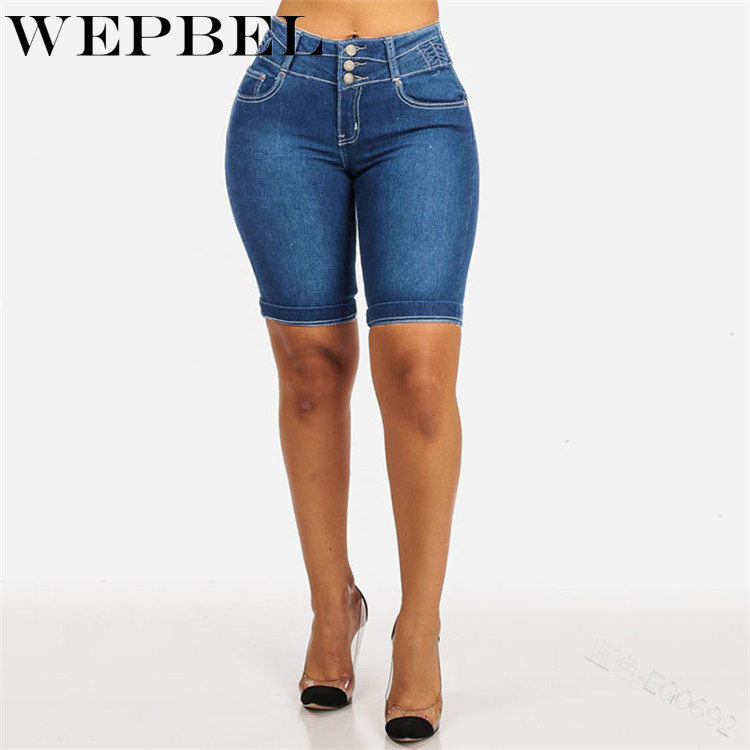 WEPBEL Women's Shorts High-waisted Crimping Slim Fit Jeans Spring Summer Casual Women Solid Color Slimming Denim Shorts