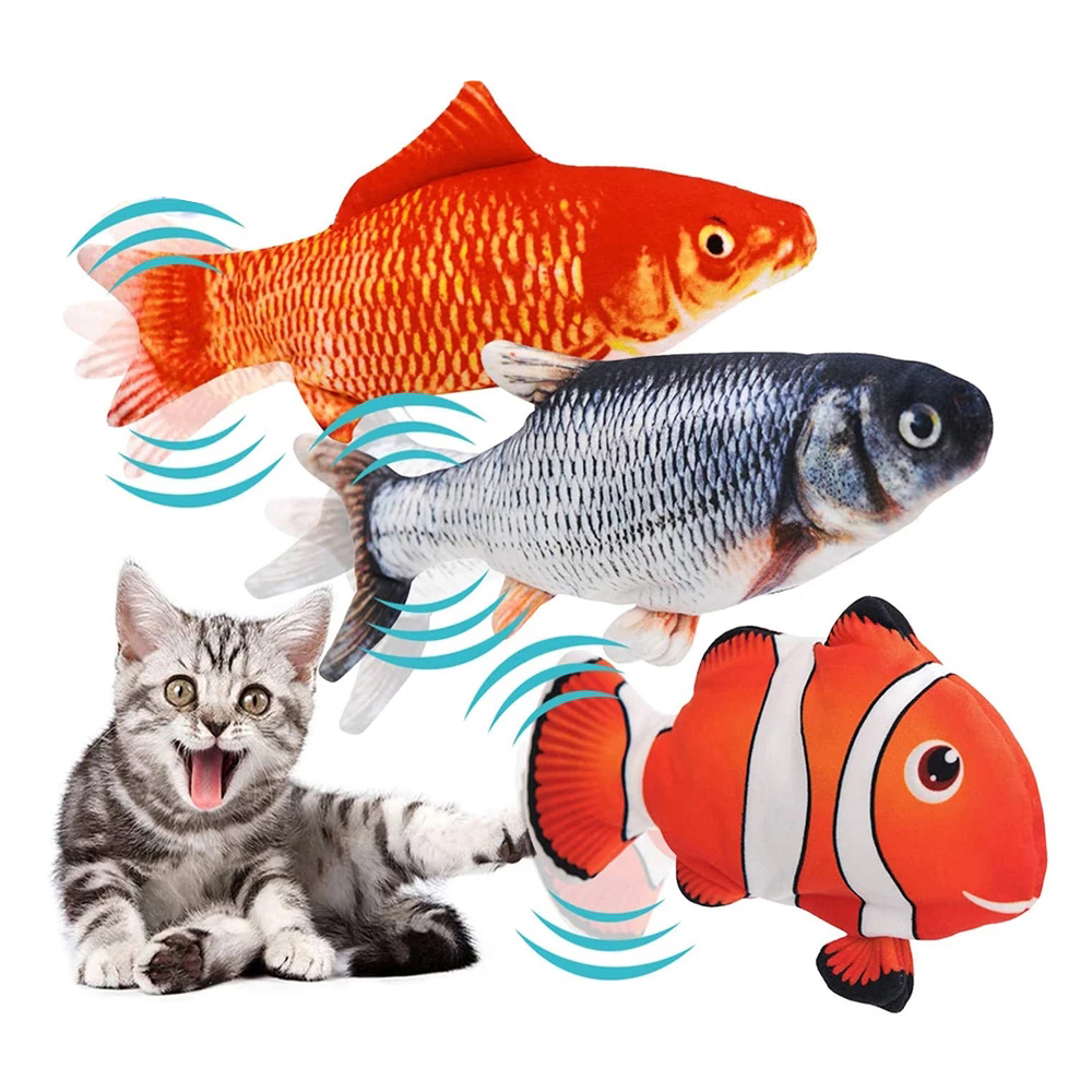 Electric Flopping Fish Moving Cat Kicker Fish Toy Realistic Floppy Fish Wiggle Fish Catnip Toys Plush Interactive Cat Toys 1