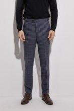 Мужские Фланелевые брюки с манжетами Темно Синие Клетчатые облегающие