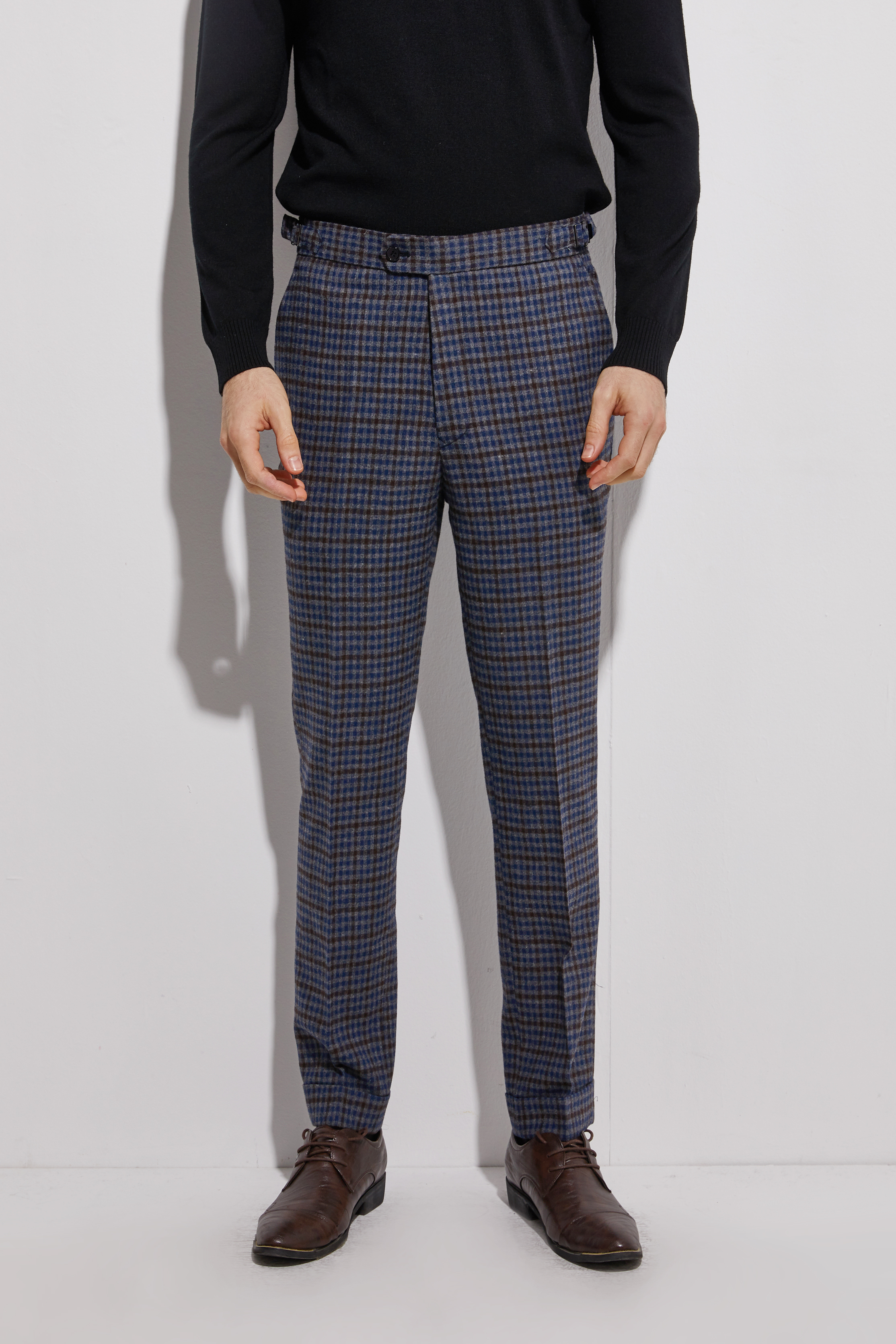 2020 Flannel Pants With Cuff Dark Blue Plaid Men Slim Fit Business Pants Custom Made Flannel Trousers With Side Adjusters