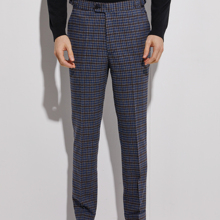 Pants Dark-Blue Trousers Plaid with Cuff Men Slim-Fit Custom-Made Flannel Side-Adjusters