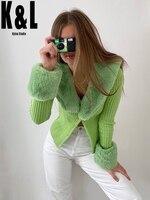 Street Fashion Tight V Neck Stitching Fur Collar Sweater Women 2020 Autumn New Detachable Long Sleeve Cardigan K&L Kylen Studio