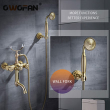 Bathtub Faucets Luxury Gold Brass Bathroom Faucet Mixer Tap Wall Mounted Hand Held Shower Head Kit Shower Faucet Sets 88313 golden rainfall shower faucets set brass wall mounted shower with hand shower mixer for bathroom
