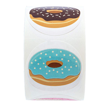 500 Pcs/Roll  Kawaii Sealing Label Decorative StickerCute Donuts Sticker  For Cake Baking Packaging