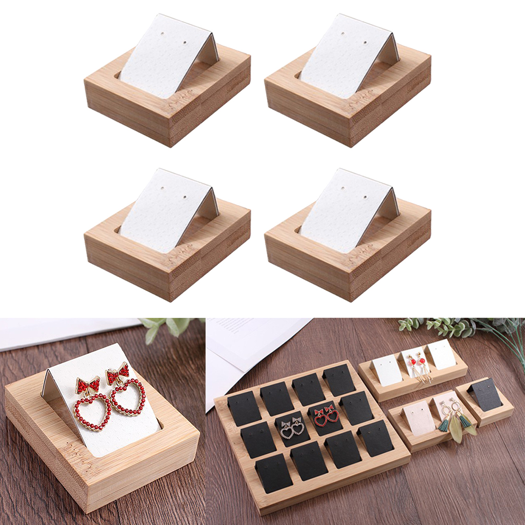 4 Pairs Earring Card Holder With Tray For Jewelry Accessory Display White