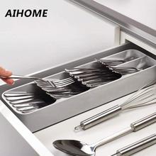 Экологичный лоток для кухонного ящика, ложка, нож, вилка, посуда, отделительная отделочная коробка для хранения, органайзер для столовых приборов