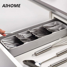 Eco-Friendly Kitchen Drawer Organizer Tray Spoon Knife Fork Tableware Separation Finishing Storage Box Cutlery Organizer(China)