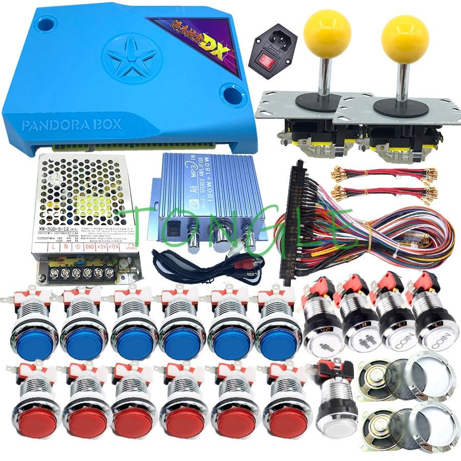 Caja de juegos recreativos Diy, Kit de 2 jugadores Pandora Box DX, versión Jamma 2992, joystick de juego de 33mm, botón pulsador cromado, receptor de monedas