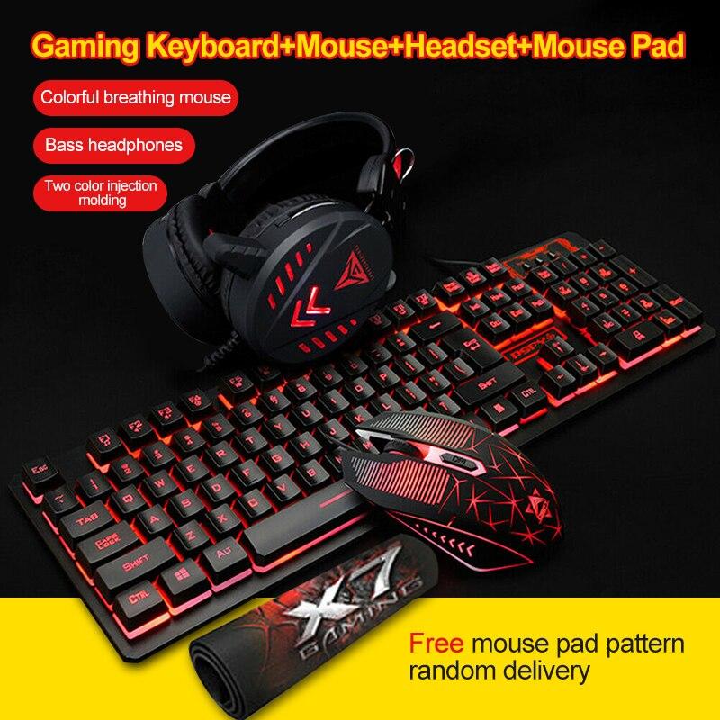 3/4Pcs LED Backlit Gaming Mechanical Keyboard+Gaming Mouse+Headset +Mouse Pad Wired Backlight Desktop Ergonomic Keyboard Set