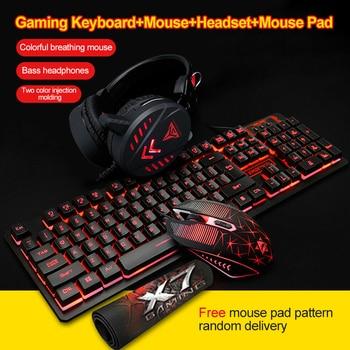 цена 3/4Pcs LED Backlit Gaming Mechanical Keyboard+Gaming Mouse+Headset +Mouse Pad Wired Backlight Desktop Ergonomic Keyboard Set онлайн в 2017 году