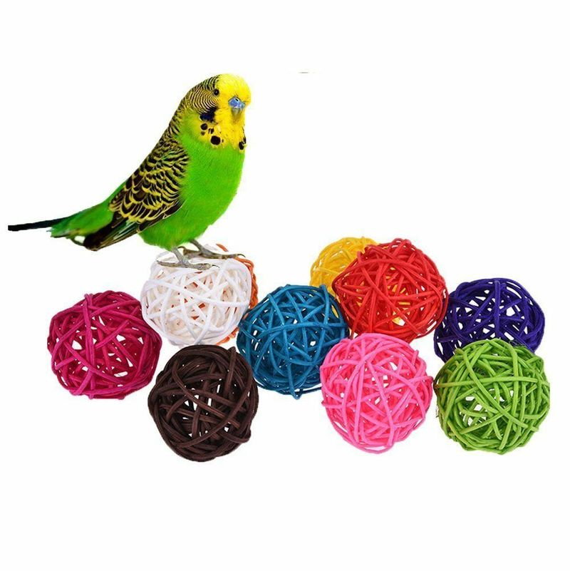5/10pcs Colorful Rattan Balls Parrot Toys Bird Interactive Bite Chew Toys For Parakeet Budgie Cage Accessories Bird Playing Toys