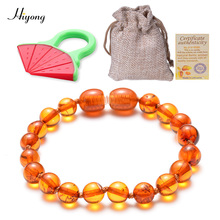 HIYONG Natural Baltic Amber Baby  Bracelets Round beads Fussiness Reduce Teething Anklets to Your Kids
