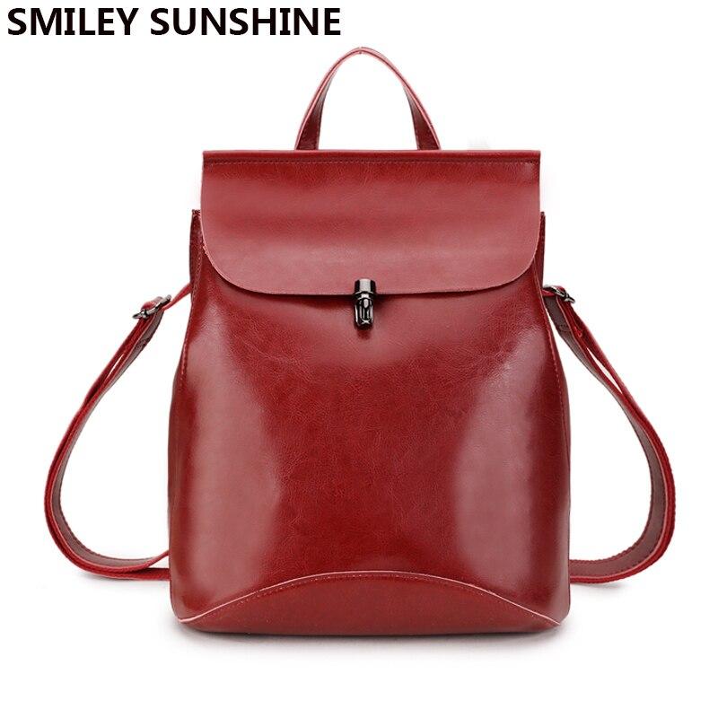 SMILEY SUNSHINE Genuine Leather Women s Backpacks Anti Theft Rucksack Ladies Travel Bags Female School Big